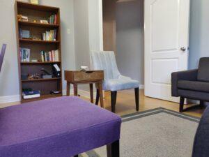 corner office seating area and door